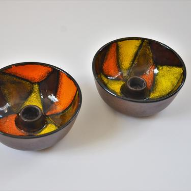Italian Modern Pottery Bowl Candle Holders by Bitossi for Raymor, Pair by SourcedModern