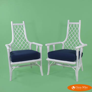Pair of Ficks Reed Style Low Arm Chairs