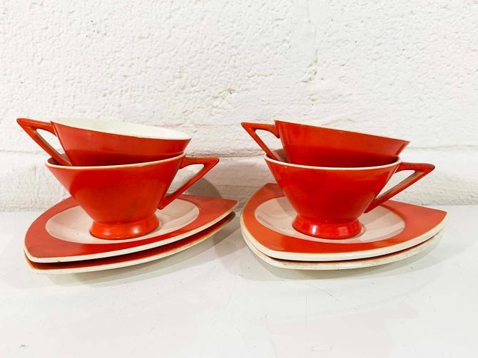 True Vintage Salem Tricorne China Set Two Coffee Cups Saucers Atomic Art Deco Streamline Mandarin Orange Red Mid-Century Triangular Tea 30s by CheckEngineVintage