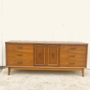 Mid Century Lowboy Dresser with Brass Hardware