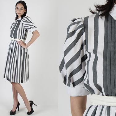 80s White Grey Striped Dress / Minimalist Pleated Tuxedo Chest / Tiny Collar Button Up Preppy Outfit / Pin Striped Secretary Day Midi Mini by americanarchive