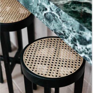 Pierre Jeanneret Stool Black Gloss Original Weave Finish by ShopInteriorTonic