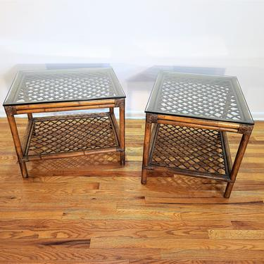 Mid Century Lattice Rattan Pair of End / Side Tables by ProRefineFurnishings