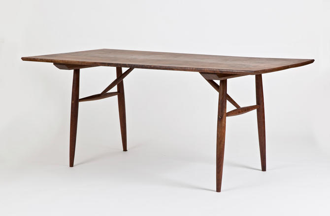 Danish Modern Dining Table, Mid Century Solid Walnut Kitchen Table, Hand Made Furniture, Minimalist Home Décor by BeautyBreadWoodshop