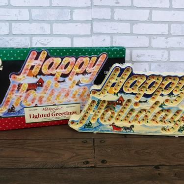 Plastic Lighted Holiday Glow Happy Holidays Christmas Decoration by RedsRustyRelics