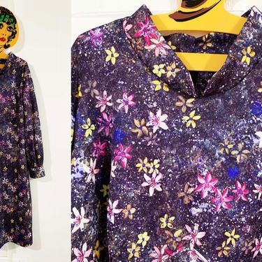 Vintage Cosmic Floral Dress A-Line Mandarin Collar Flowers Jewel Pink Blue Purple Long Sleeve Leg of Mutton Sleeves 3XL 4XL XXXL Plus Volup by CheckEngineVintage