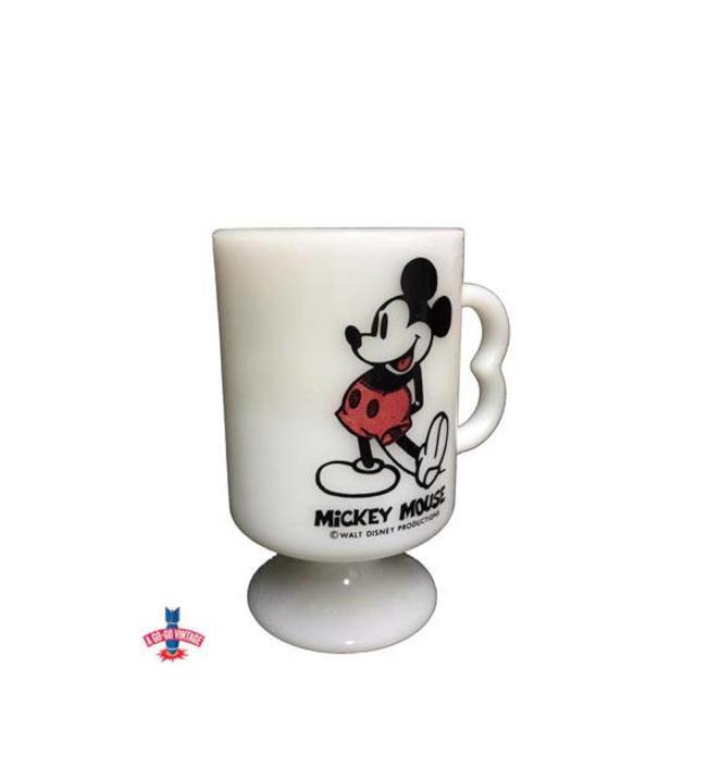 Vintage White Milk Glass Mug Mickey Mouse Coffee Cup