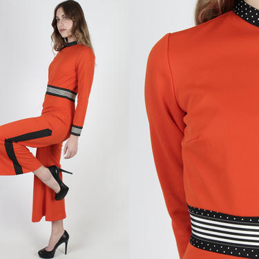 Vintage Red Striped Jumpsuit / 70s Black White Stripe Bell Bottom Jumpsuit / Wide Leg Palazzo Playsuit / 1970s Disco Party Outfit by americanarchive