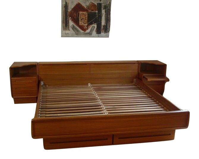Teak Queen Danish Modern Platform Bed STORAGE DRAWERS Nightstand Torring Dyrlund