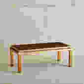 Brass and Back-Painted Glass Top Rectangular Coffee Table in the Style of Guy Lefevre for Maison Jansen, Circa 1970s