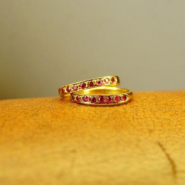 Vintage 14K Gold Half Eternity Pave Ruby Ring, 8 Round Cut Ruby Gemstones, 2mm Yellow Gold Band, Anniversary Ring, Size 6 1/2 US by shopGoodsVintage