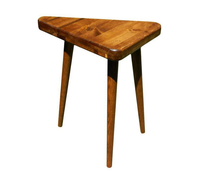 Mid Century Modern Side Table Triangle Table by OrWaDesigns