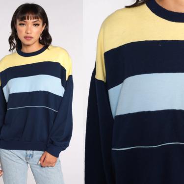 Navy Striped Sweatshirt -- 80s Sweater Retro Sweatshirt Blue Crewneck Sweatshirt Slouchy Pullover Vintage 1980s Extra Large xl l by ShopExile
