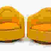 Milo Baughman Orange Tweed Lounge Chairs