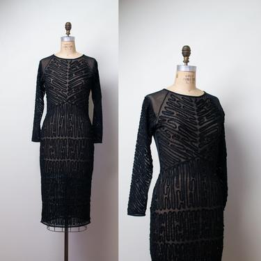 1990s Krizia Dress / 90s Body Con Nylon Mesh Sheer Soutache Beaded Dress by FemaleHysteria