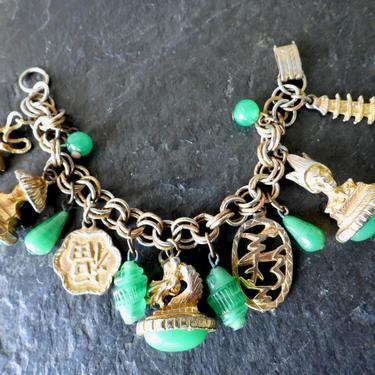 Poured Glass Asian Charm Bracelet with Dragon by LegendaryBeast