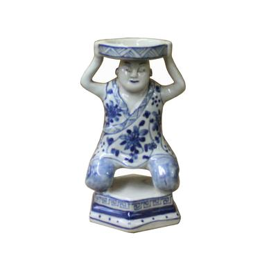 Oriental Vintage Ceramic Blue White Man Holding Dish Figure ws1118E by GoldenLotusAntiques