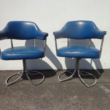 2 Mid Century Modern MCM Milo Baughman Inspired Style Chairs Chrome Metal Swivel Armchair Regency Vintage Chair Seating Tufted Vinyl MCM by DejaVuDecors