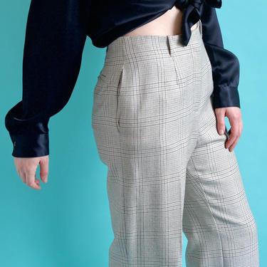 1980's Wool Blend plaid High Waist Trousers    Tan and Light blue Plaid    size 8 by BeggarsBanquet