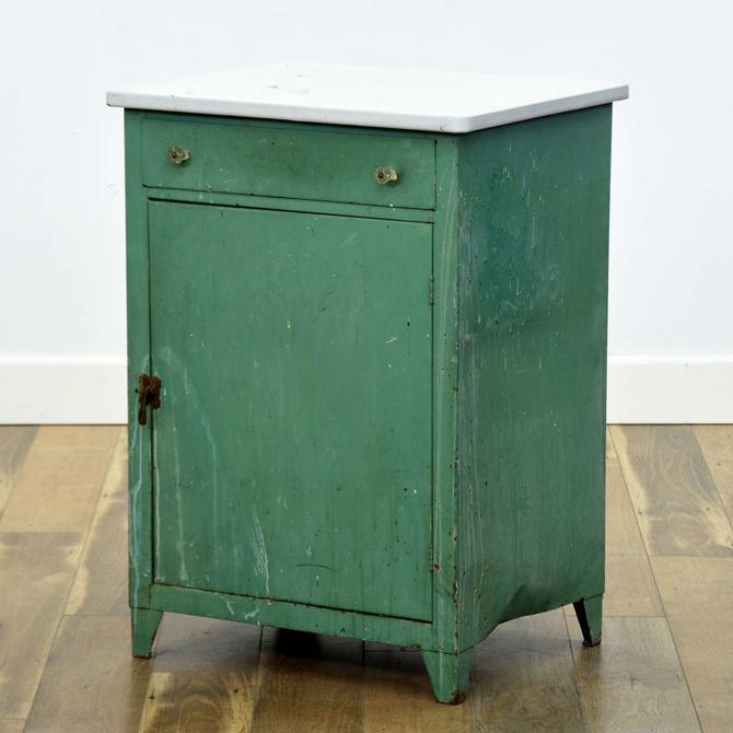 Vintage Green & Patina Kitchen Cabinet