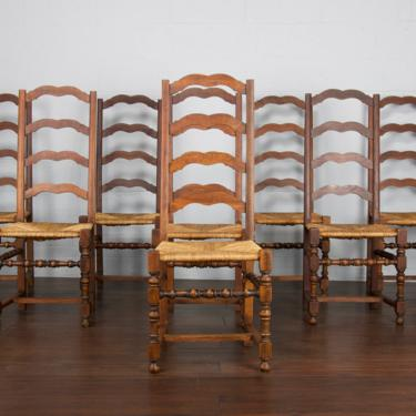 Antique Set of 8 Country French Farmhouse Oak Ladder Back Dining Chairs by StandOutSpaces
