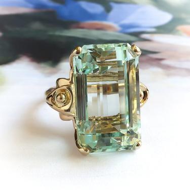 Midcentury Vintage Emerald Cut Aquamarine Solitaire Cocktail Statement Ring 14K by YourJewelryFinder