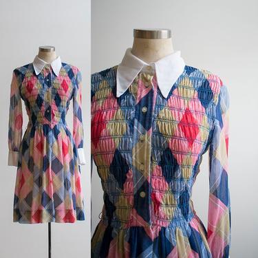 Vintage 1960s Plaid Argyle Dress / 1960s Longsleeve Dress/ Vintage Day Dress / 1960s Skater Dress / by milkandice