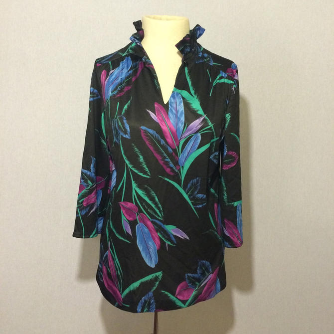 Vintage Neon Feather Graphic 70s Blouse by citybone