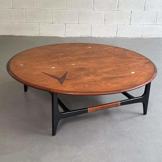 Mid Century Modern Round Inlay Walnut Coffee Table by Lane Alta Vista
