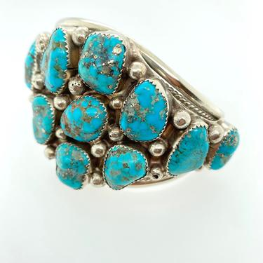 Vintage Navajo Huge 11 Stone Turquoise Pawn Coin Silver Cuff Bracelet Artisan by HouseofVintageOnline