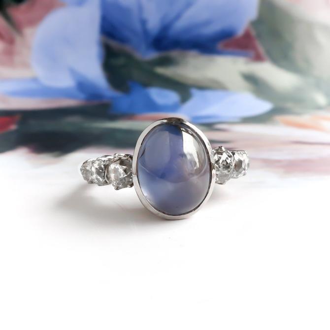 Vintage Blue Star Sapphire Old Mine Cut Diamond Platinum Ring by YourJewelryFinder