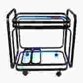 A Stylish American 1970's Black Metal Drinks/Bar Cart with Glass Shelves