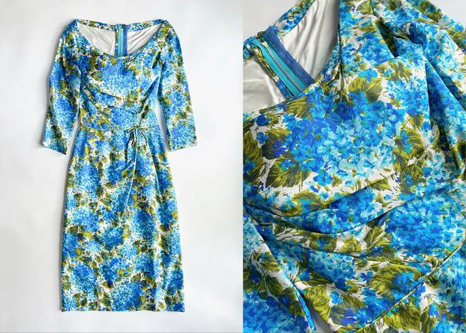 Early 1960s Draped Bodice Silk Cocktail Dress Mancini by hemlockvintage