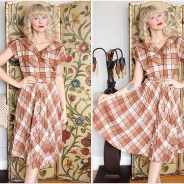 1950s Dress // Annetta Plaid Day Dress // vintage 50s dress by dethrosevintage