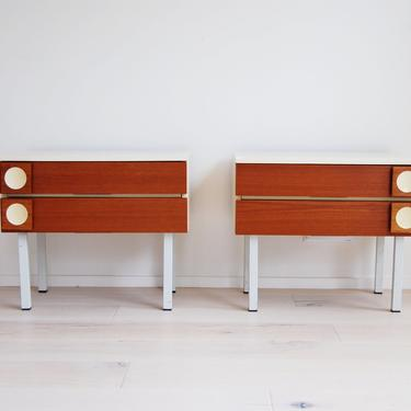Pair of Mid Century Modern Teak Bedside Tables with Drawers by MidCentury55