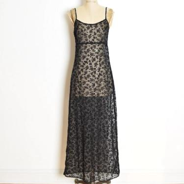 vintage 90s dress sheer black flocked velvet floral long maxi goth slip S M clothing by huncamuncavintage
