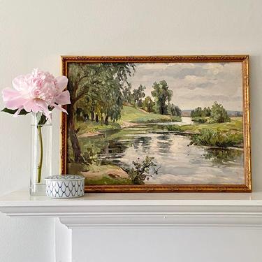 Impressionist Water Landscape Oil Painting River Bayou Plein Air Scene by ModRendition