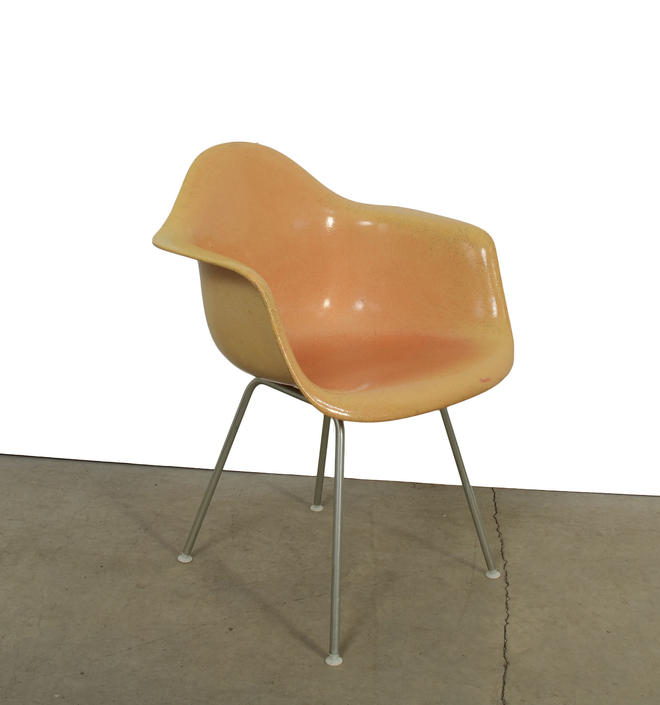 Eames Orange Arm Shell Chair Herman Miller Fiberglass Shell Chair on H base by HearthsideHome
