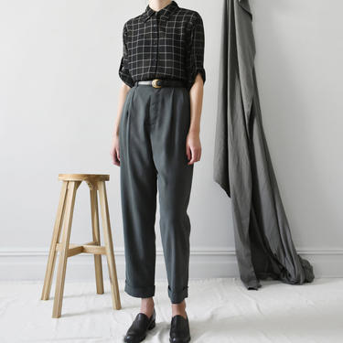 vintage romeo gigli washed silk trousers / high waist tapered pants / XS - S by ImprovGoods