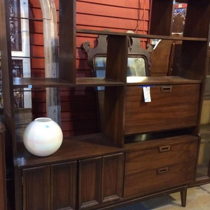 Mid century modern wall unit room divider with desk bar for Modern wall bar unit
