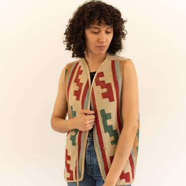 Vintage Wool Pattern Folk Vest | Western Blanket Style | Handmade | S M  | by RAWSONSTUDIO