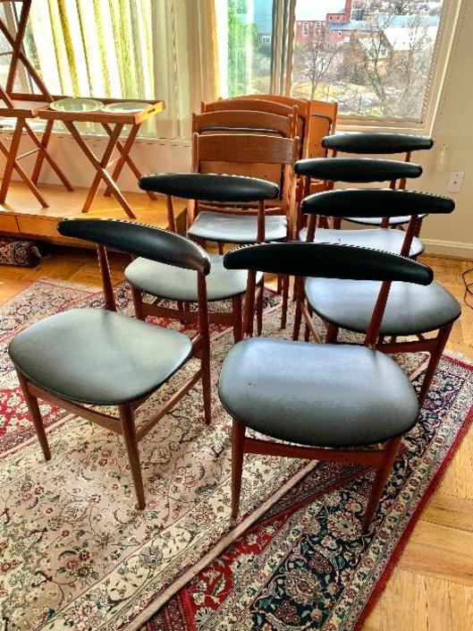 Set six (6) Danish MCM Teak dining chairs Midcentury Modern