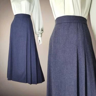 Vintage Box Pleat Skirt, Medium / Cadet Blue Worsted Woolen Day Skirt / Wool A Line 1940s Style Office Skirt / Flared Midi Secretary Skirt by SoughtClothier