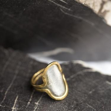 Brass and Sterling Silver Reflecting Pool Ring