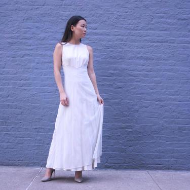 Elegant White Sleeveless Dress | Vintage Simple White Dress | Size 6 | Wedding Dress | Full Length | Silk Summer Dress by HamletsVintage