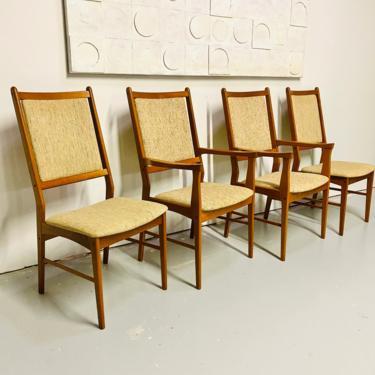 Mid Century Danish Spottrup Modern Set of Four 1960's Solid Teak Wood High Back Dining Chairs by VivaLaVintagedotTX