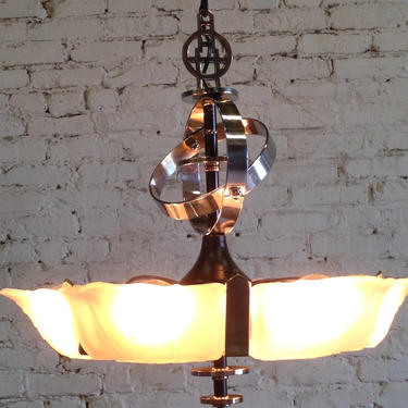 RESTORED Art Deco slip shade chandelier 6 light by vintagefilament