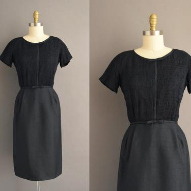 1950s vintage dress | Gorgeous Navy Blue Silk Cocktail Party Pencil Skirt Dress | Small | 50s dress by simplicityisbliss