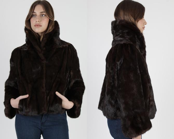Cropped Dark Brown Mink Fur Jacket / Short Mink Waistcoat / Womens Large Fur Back Collar / Authentic Wide Sleeve Fur by americanarchive
