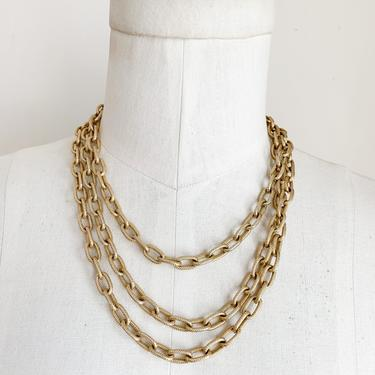vintage 1980s Monet Brushed Gold Tone Ext. Long Chain Necklace by MsTips